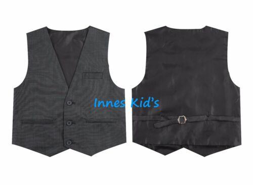 Boys 5 Piece Slim Fit Formal Dress Suit Set with Tie and Vest Grey Navy Charcoal