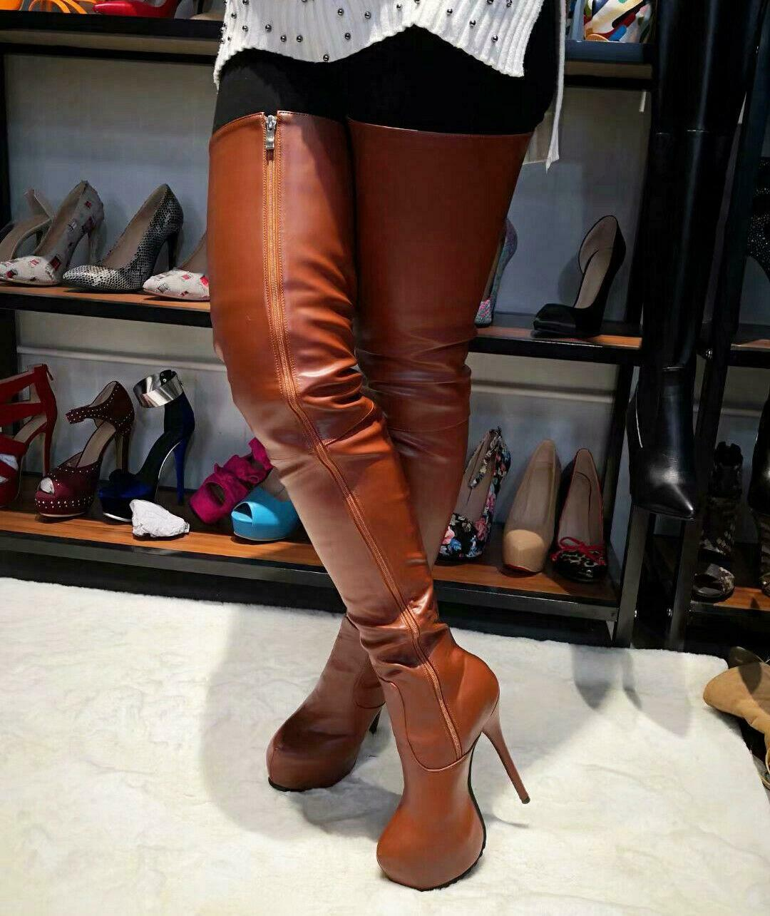 donna SUPER Woman Thigh High stivali Platform Leather High  Heels stivali scarpe 4 -20  grande sconto