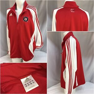 940e503cf Chicago Fire Soccer Adidas Jacket L Red Poly White Stripe Worn Once ...