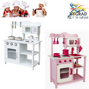 Details about New Large Kids Pink/White Wooden Play Kitchen Children\'s Play  Pretend Set Toy UK