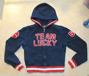 S-Lucky-Jeans-Brand-TEAM-LUCKY-Sweatshirt-Hoodie-Letterman-Jacket-Red-White-blue