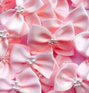 Pack-of-10-BABY-PINK-3-5cm-Satin-Ready-Made-Mini-Ribbon-and-Pearl-Craft-Bows
