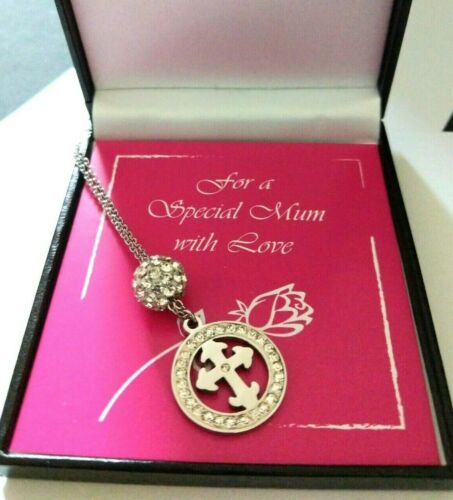 Mothers Day Gift Crystal Cross Steel Necklace For Mum, Personalised Gift Box 18