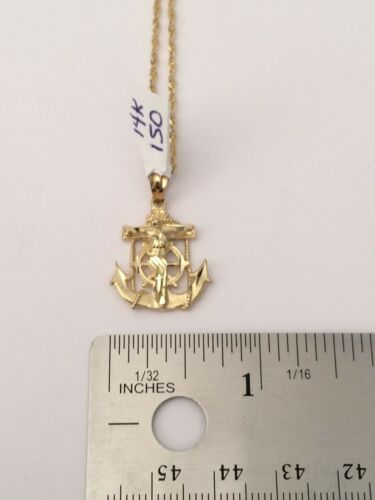 Details about  /Real 14k yellow Gold Ship Anchor Jesus Cross Pendant Singapore Chain 18 inch