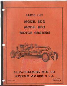 Details about Allis-Chalmers Model BD2 & BD3 Motor Grader Parts Manual