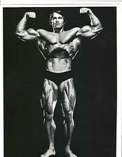 ARNOLD SCHWARZENEGGER 7x Mr Olympia Double Bicep Pose Muscle Photo B&W