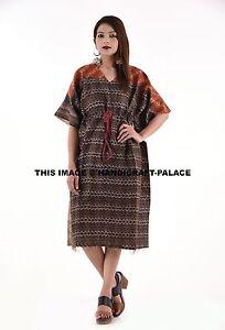 Details about Indian Silk Vintage Kaftan Plus Size Short Summer Dress Throw  Kantha Work Dress
