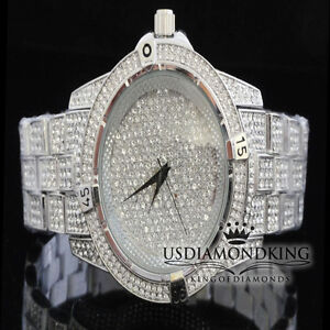 Men-039-s-New-Fully-Ice-Out-White-Gold-Finish-Bling-Master-Simulated-Diamond-Watch
