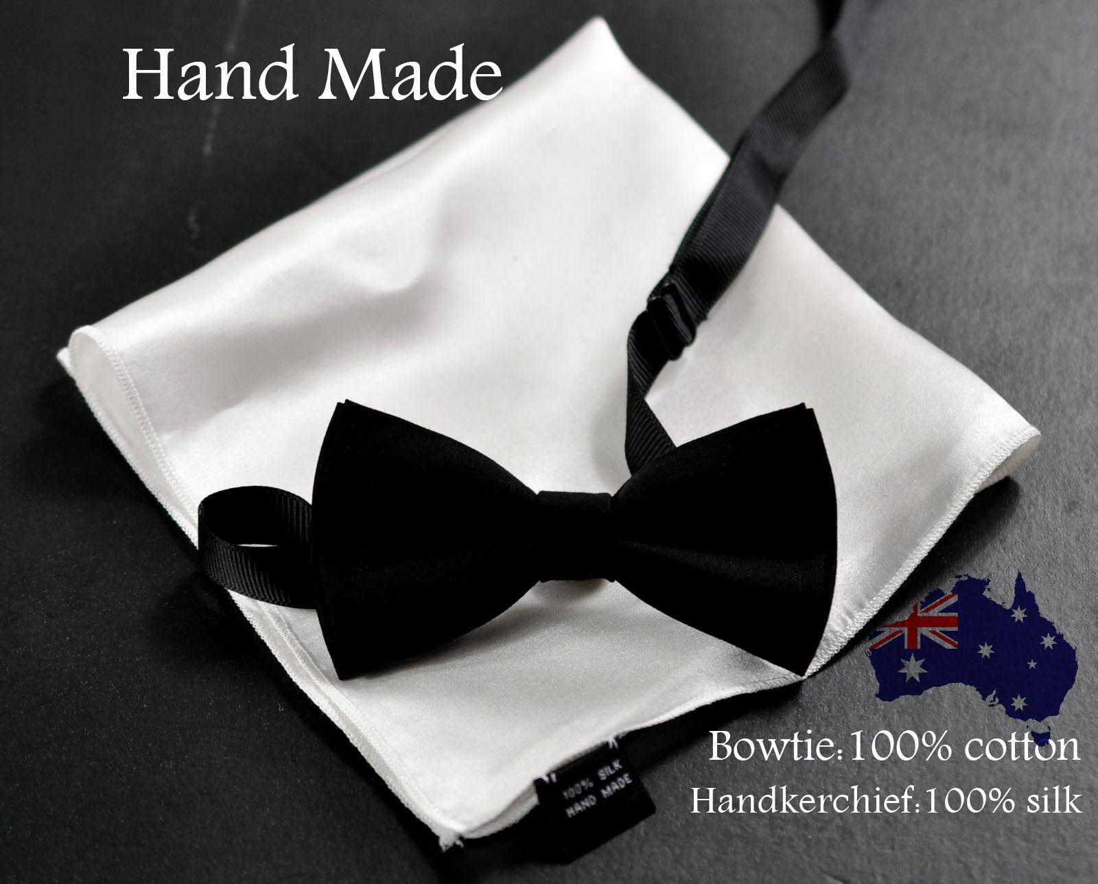 BLACK SATIN BOW TIE 100/% SILK MEN/'S POCKET SQUARE HANKY HANDKERCHIEF
