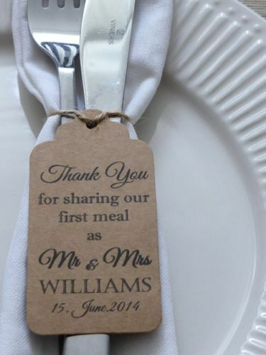 Personalised Wedding Favour Gift Tag  Thank you  Guest Label Kraft  Napkin Ring