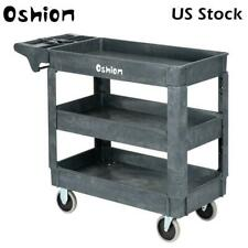 Plastic Utility Rolling Service Cart 500lbs Capacity With2 Shelve 40 X 17 X 33