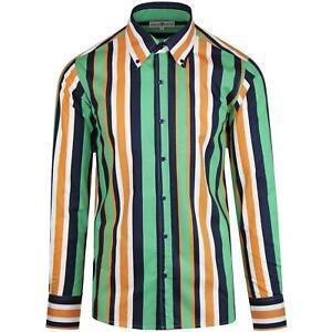 Nuevo-Madcap-Retro-Mod-para-hombre-60s-70s-80s-Big-Cuello-Con-Botones-Camisa-a-Rayas-MC476
