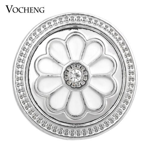 18 mm vocheng Snaps Charms blanc fleur alliage Bouton Vn-1375