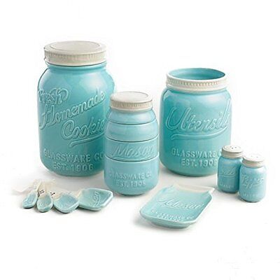 Mason Jar Ceramic Kitchenware  Complete Set   Measuring Cups and Spoons, Cookie