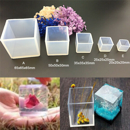 DIY Silicone Cube Mold Handmade Jewelry Pendant Making Casting Mould Craft Tool