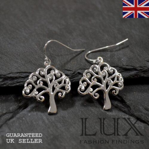 1 Pair Solid Sterling Silver 925 Tree Of Life Drop dangle Earrings Fishhooks