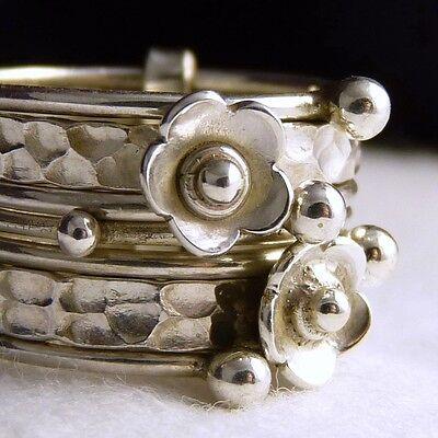 US 6 1/2 (N) ~ 925 Sterling Silver ~ NEST/STACK OF 7 RINGS ~ SilverSari Ring