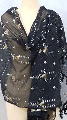 Amazing Soft Egyptian Assiut Assuit Tulle Black Wide Shawl Wrap Veil