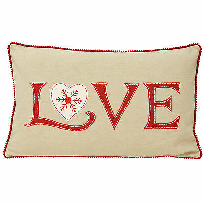 Paoletti Nicholas Love Embroidered Christmas Cotton 30x50cm Cushion Cover
