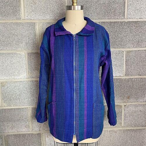 Skye Smocks Womens Jacket Blue Purple Hand Made Fu