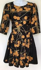 Mackenzie of Sydney Marimekko cotton Black Orange  floral dress SMALL S