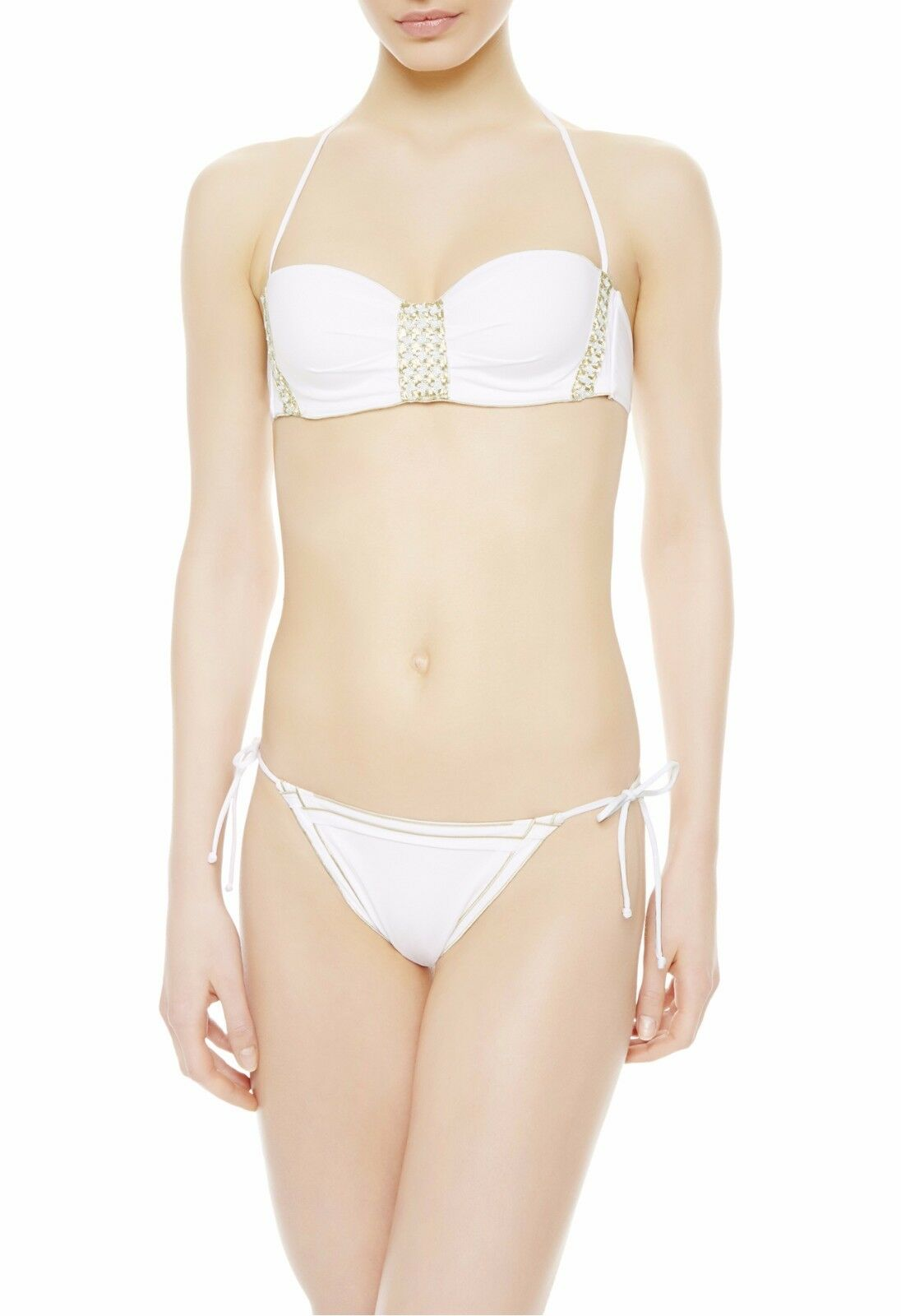 900 La Perla Summer Chain Swimsuit White Sequins Houndstooth Embroidery 6 US S