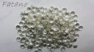 100-filigrane-Perlkappen-Perlenkappen-6-mm-silber-Spacer-Schmuck-basteln-H6006