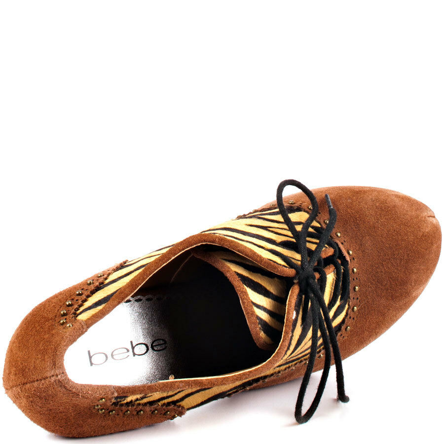Bebe  Penelope Animal Print Oxford  Bebe Ankle Pump Booties . NIB Size 6.5 c7a5d5