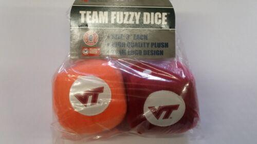 "NEW NCAA Virginia Tech Hokies  3/"" Fuzzy Dice Great for any Car or Truck"