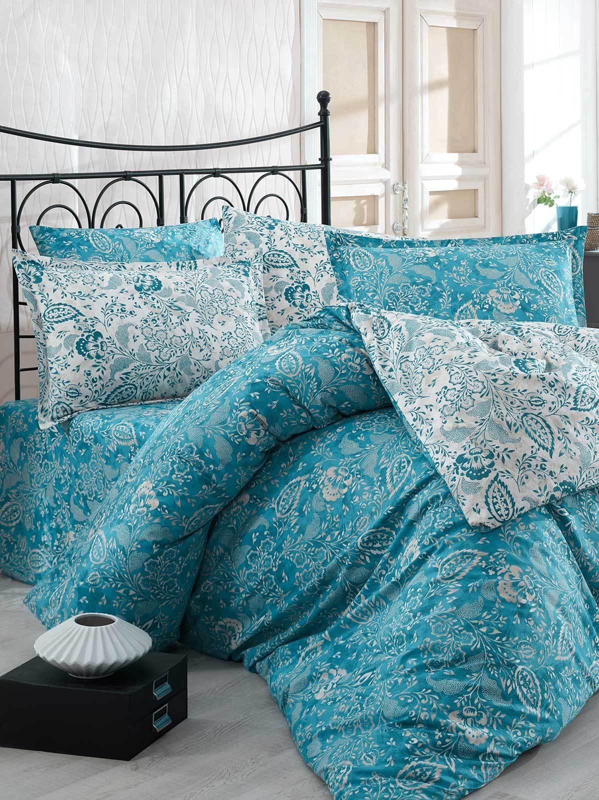 Bettwäsche 135x200 cm Bettgarnitur Bettbezug Baumwolle Kissen 6 tlg YAPRK BLAU