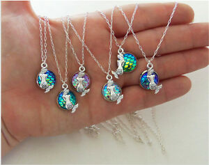 9colors Cabochon Little Mermaid Necklace Pendants For Girls Jewelry