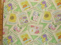 Seed Packs Flowers Print Cotton Fabric By The Yard