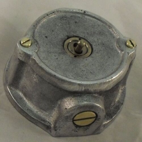 BS EN Approved NEW Round Cast Metal 1 Gang Vintage Industrial Light Switch