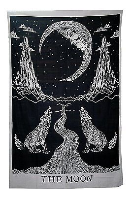 Black and white Crying Wolf of The Moon Tarot Tapestry wall hanging by Bohemian