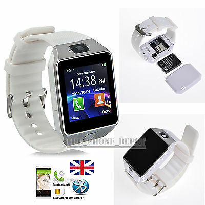 White Bluetooth DZ09 Smart Watch For HTC LG Samsung Android Phone Camera SIM UK