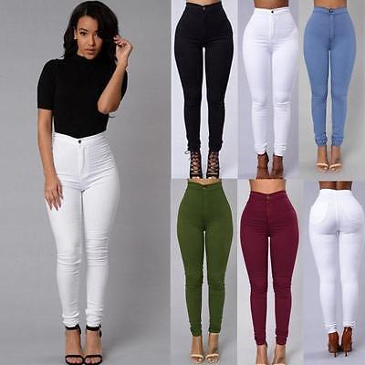 Women Ladies Skinny Pencil Pants High Waist Stretch Slim Fit Denim Jeans Trouser