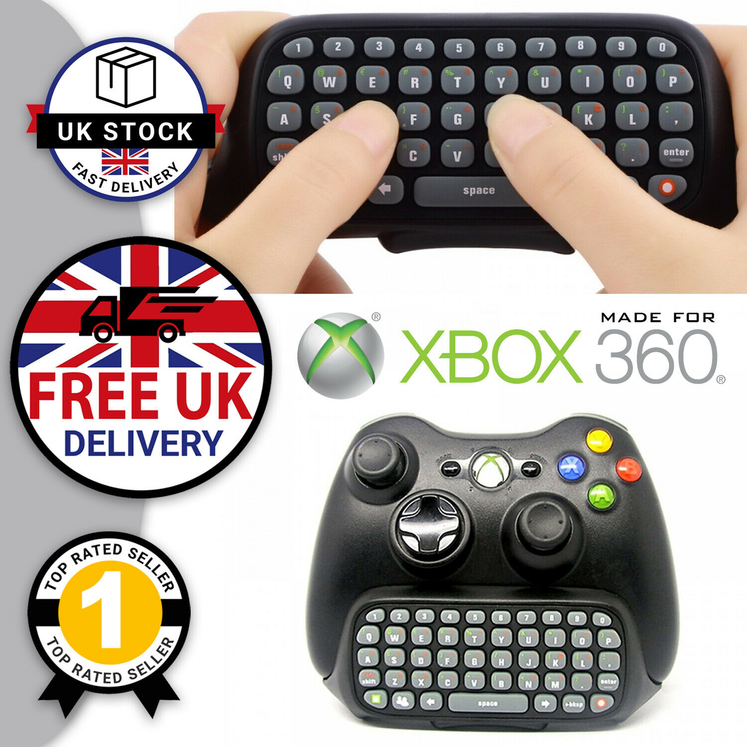 Bluetooth Wireless Keyboard Xbox 360 & Xbox One Controller Text Type Chat QWERTY