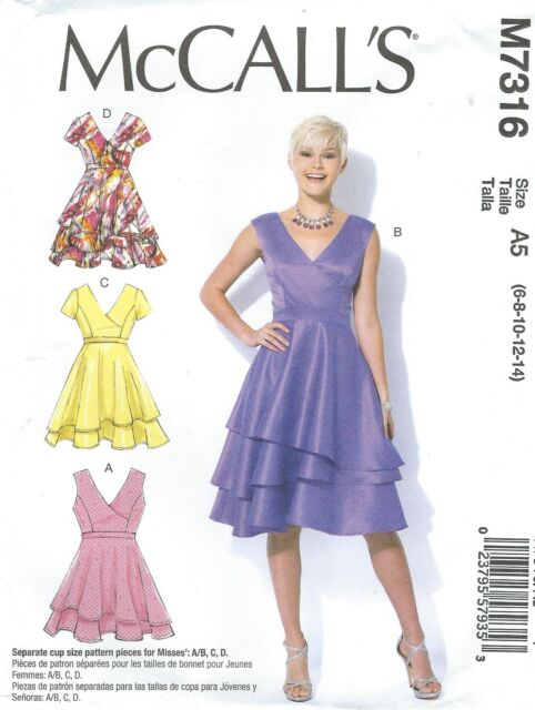 McCalls 2116 Misses 2 Layered Pull-On Dress Sewing Pattern Uncut