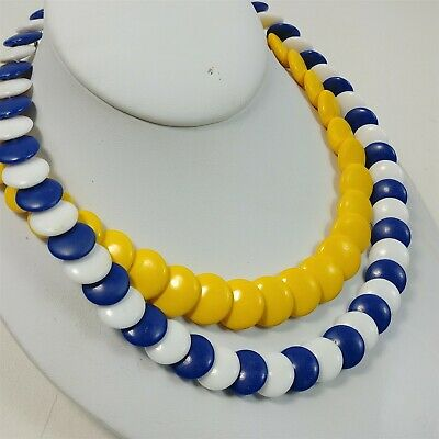 Vintage Tribal Seed Bead Necklace with Bell Blue /& White 29