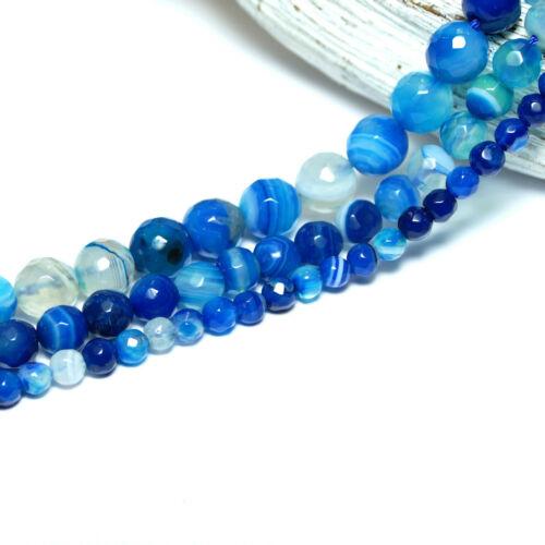Bandachat Perle Kugel facettiert glanz blau weiß 4-12 mm 1 Strang BACATUS #1138