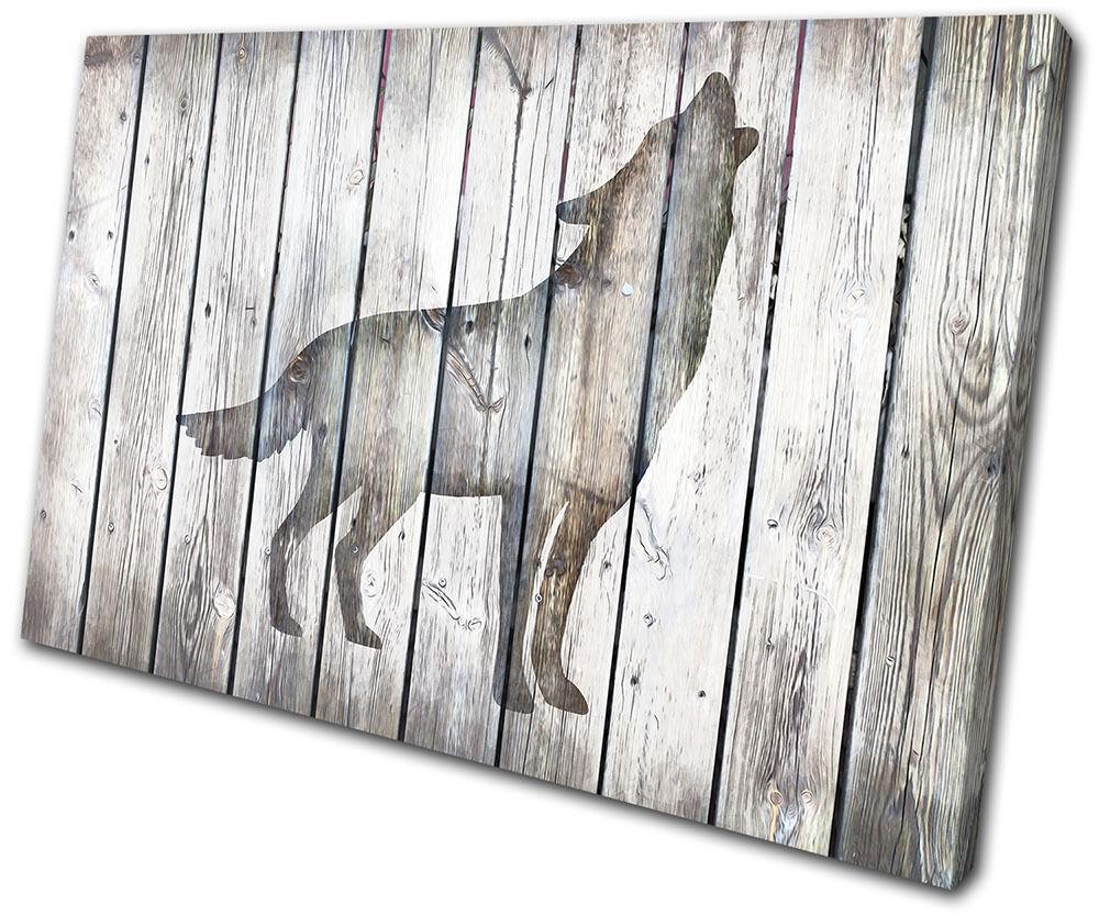Wolf Vintage Wood Animals SINGLE Leinwand Wand Kunst Bild drucken