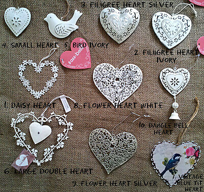 VINTAGE Shabby Chic HANGING HEART / BIRD WEDDING FAVOUR DECORATION White Silver