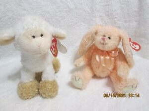 Set of 2 Retired Easter Beanie Babies Baaabsy 2006 & Camelia 1993 New With Tag