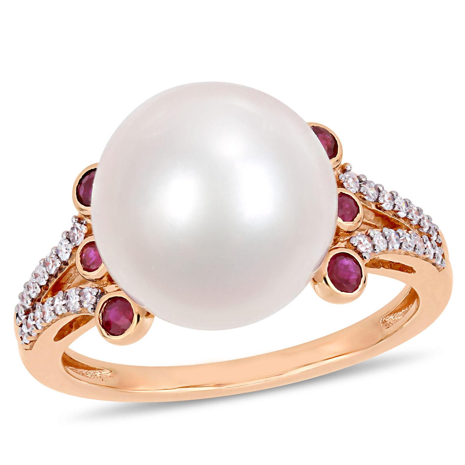 10KR Pearl Diamond Ruby Ring