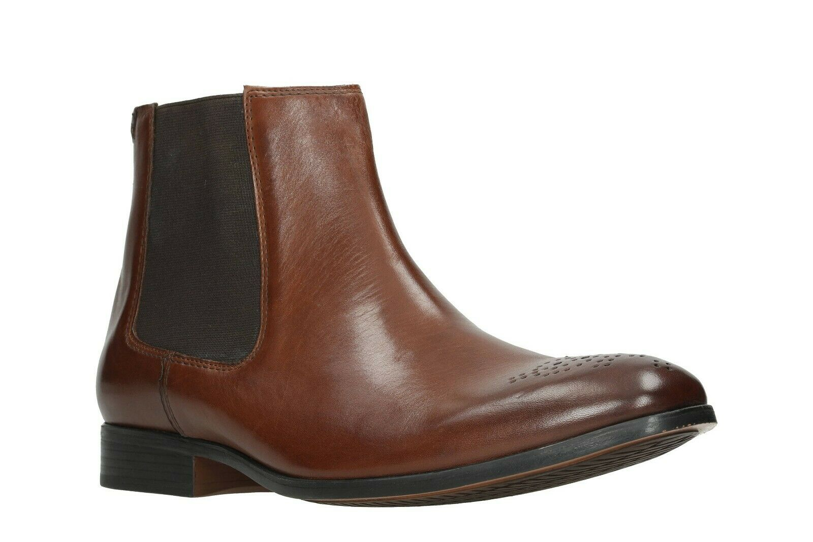 Clarks Men's Gilmore Chelsea Tan Leather Pull On Ankle Boots UK SIZE 10 G