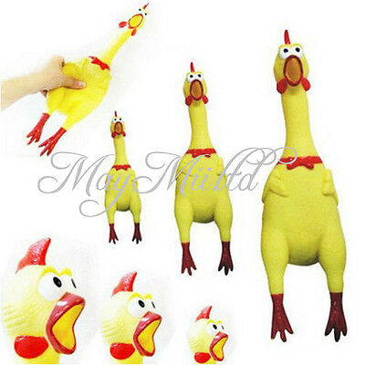Gift Yellow Screaming Rubber Chicken Pet Dog Toy Squeak Squeaker Chew Toy S