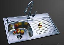 Lavello da Cucina Ciotola 1-acciaio inox, (piccola ammaccatura) Ciotola per mano sinistra-FINITURA SATINATA