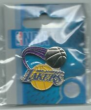 NBA Los Angeles Lakers Silver Basketball & Purple Glitter/Sparkle Trails Pin NIP