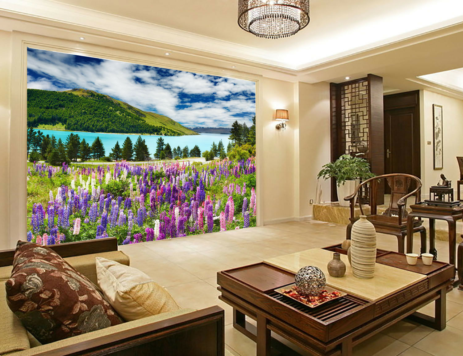 3D Lavender Sky River 5 Wall Paper Wall Print Decal Wall Deco Indoor Mural Carly