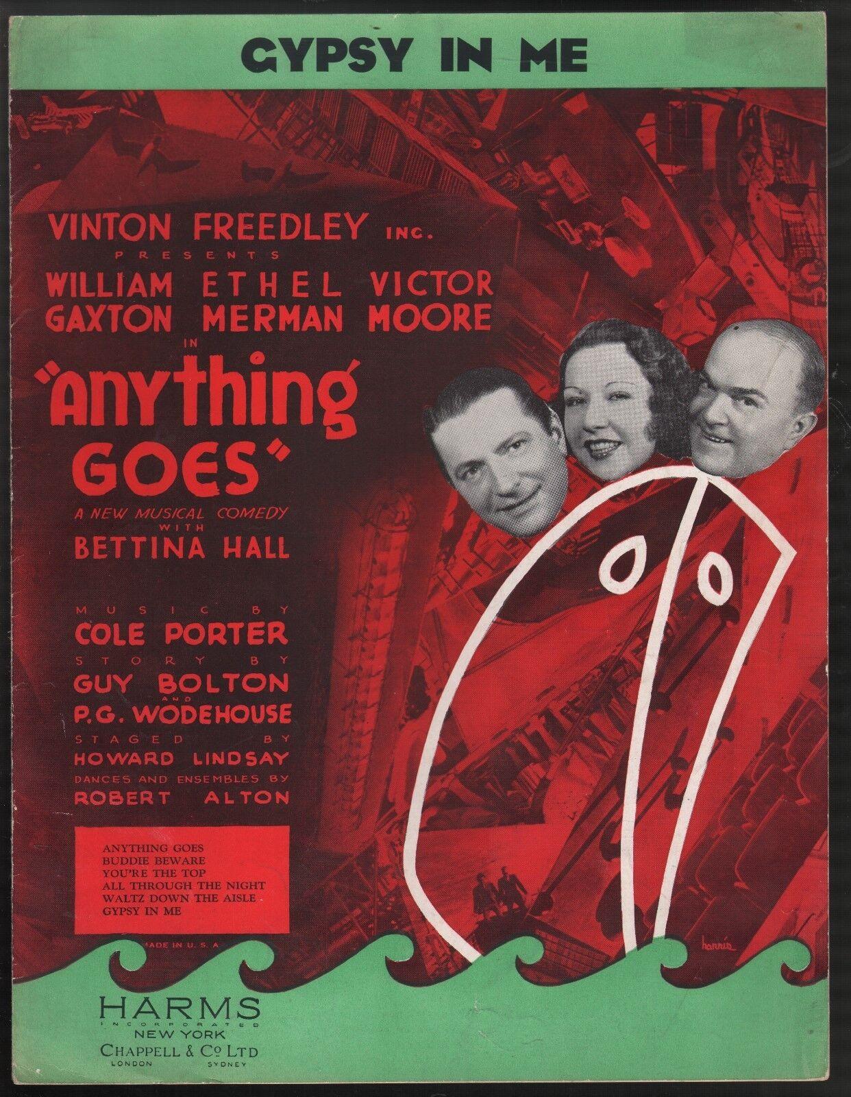 Gypsy In Me 1934 Ethel Merman Anything Goes Sheet Music